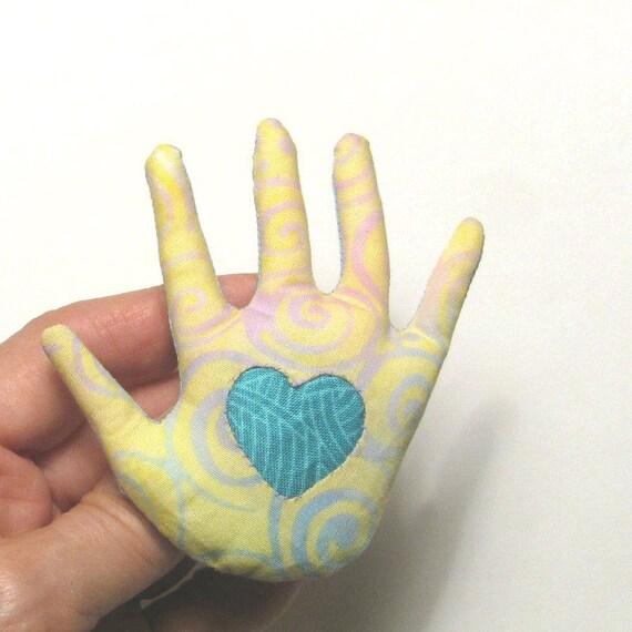 Hand Brooch ~ Heart in Hand Pin ~ Fabric Hamsa ~ Ready to Ship