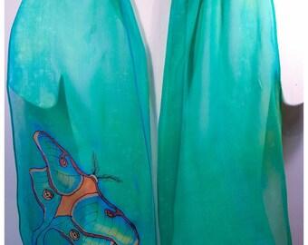 """Hand painted silk scarf. 11""""x60"""" chiffon silk. Luna Moth Silk Scarf. Turquoise silk scarf. Hand-painted silk scarves. Painted silk scarves"""