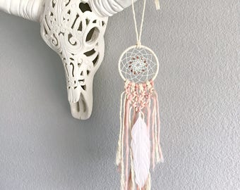 Mini Macrame Dream Catcher // Pastel Pink, White Feather, Copper Beads, Boho Baby Girls Nursery Decor, Baby Shower Gift, Car Dreamcatcher