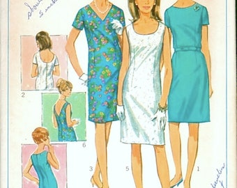Great Vintage 1960s Simplicity 7100 Half Size Slim Dress with 3 Different Necklines Sewing Pattern B39