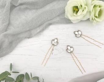 Gold deco wedding hair pins (x3), Gold crystal wedding hair pins, Gold twenties hair pins, Gold 1920s hair pins
