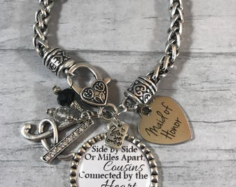 Gift for Maid of Honor. Gift from Bride. Wedding Bracelet. Custom Pendant. YOUR CHOICE of QUOTE. Initial Charm Bracelet. Jewelry for Wedding