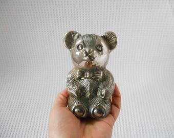 Bear Money Box Stainless Steel Shabby Chic Vintage Savings Bank