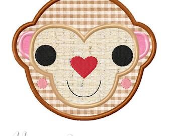 Heartfelt Monkey Applique Embroidery Design, monkey applique, valentine applique, machine embroidery, applique, monkey embroidery, animal