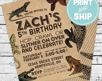 Printed Reptiles & Amphibians Invitations and Envelopes - Print and Ship Invitations