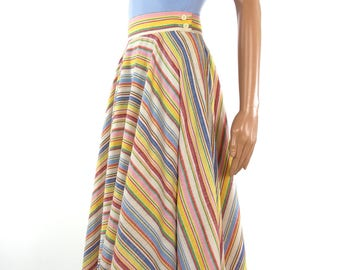 Gorgeous 70s Does 50s Cotton Rainbow Full Circle Skirt
