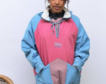 1990s 'Paco Colour' Pink & Blue Anorak Size UK 12/14, US 8/10, EU 40/42
