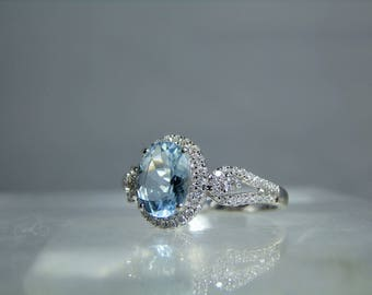 Vintage 14k White Gold Aquamarine Diamond Ring Size 7 Halo and Pave Set Diamonds Oval Cut Aquamarine DanPickedMinerals