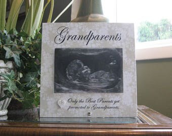 GRANDPARENTS, 4 x 6 photo, ceramic heart with crystal