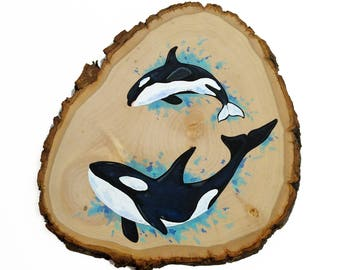 Orca wood sign, whale wood sign, killer whale art, ocean nursery art, beach decor, whale painting, ocean art decor, ocean nursery decor