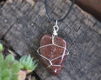 Jasper Necklace, Flat Stone Necklace, Red Stones, Red Brecciated Jasper, Healing Stones, Tumbled Stones, Mens Hippie Necklace, Geology