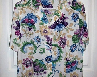 Vintage Ladies Multi Color Floral Print Blouse Top by Alfred Dunner Size 16 Only 8 USD