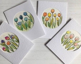 Hand Painted, Original Watercolour Floral Greeting card, Tulips