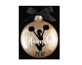 Cheerleader Christmas Ornament, Cheer Christmas Ornament, Cheerleader Ornament with Name and Year