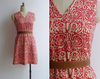 10-25% OFF Code In Shop - Vintage 80's Red Paper Cut Floral Print Cotton Dress XS or S