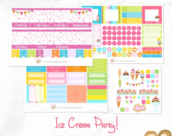 Month View Kit - sized for the  Erin Condren Life Planner-Ice Cream Party! Month view Planner sticker kit