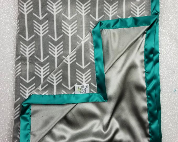 Minky Blanket, baby boy, teal and grey, green and silver, arrow blanket, satin blanket, silk blanket anchor, soft blanket baby gift, girl