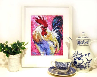 Rooster Painting  Wall Decor, Rooster Print, Chicken Wall Art From Original Rooster Painting- Colorful Rooster Art - 10 x 8 by Jemmas Gems