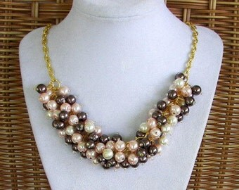 Ivory Dark Brown and Pink Pearl Necklace, Chunky Bridesmaid Necklace, Pearl Cluster Necklace,  Fall Wedding Jewelry, Pink and Brown Jewelry
