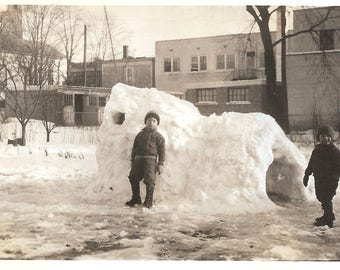 "Vintage Snapshot ""Ice House"" Igloo Young Boys Build Ice Cave Complete With Window Found Vernacular Photo"