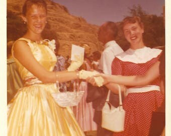 "Vintage Snapshot ""Congratulations!"" Teenage Girl Shakes Hand Out Of Frame Yellow Dress Corsage Color Snapshot Found Vernacular Photo"