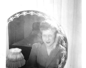 "Vintage Snapshot ""Mirror, Mirror, On The Wall"" Alluring Woman Poses In Front Of Bedroom Mirror 1940's Found Vernacular Photo"
