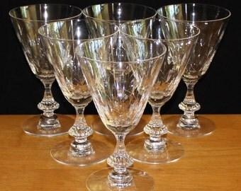 Pretty, Set of 6, Vintage Duncan & Miller, Willow Water Goblets