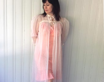 vintage 1960s Pink Robe Sheer Dotted Swiss Cotton Tie up Puffed Sleeves See Through Dressing Gown House Coat Madmen