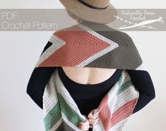 Crochet Pattern: The Narrow Way Scarf one size fall transition striped chevron feather easy stash buster
