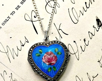 Vintage Sterling Silver Guilloche Enamel Hand Painted Antique Floral Blue Marcasite Heart Locket Something Blue