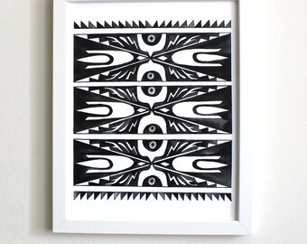 Black and White Pattern Art Print: 8x10