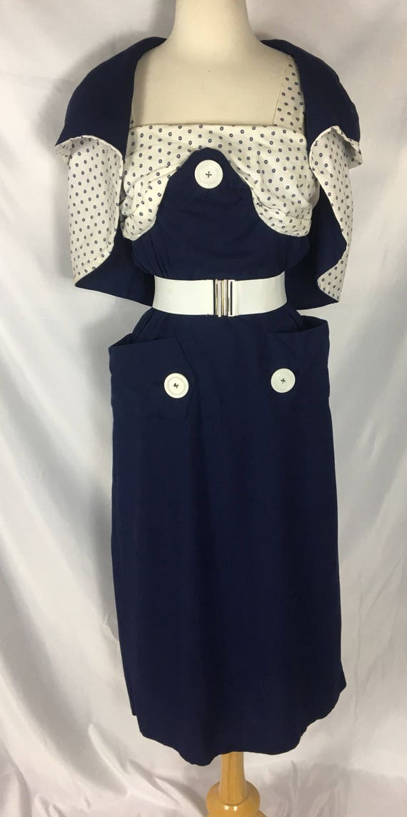 Vintage Two Piece Sleeveless Navy Blue Cotton Dress Reversible Shrug XL Large by Charles Warner
