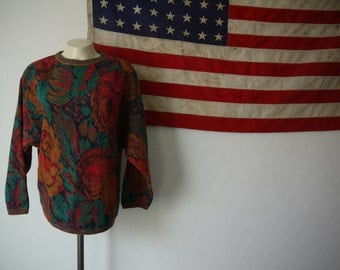 Vintage Floral French Connection 70s Anthropologie Wool Sweater / floral acrylic 70s French Connection pullover sweater / stripes and floral