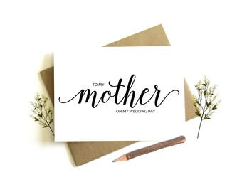 To My Mother on my Wedding Day Card - Wedding Day Card, To My Mother, Mother Wedding Card, Mom Wedding Day, To My Mom, Wedding Party