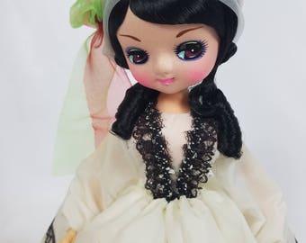 "Vintage 60s Big Eyes Bradley Musical Doll Greece Never on Sunday Greek 14"""