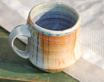 Soda fired Stoneware Mug - with hand drawn underglaze stripes rust and blue handmade artisan coffee and tea cup