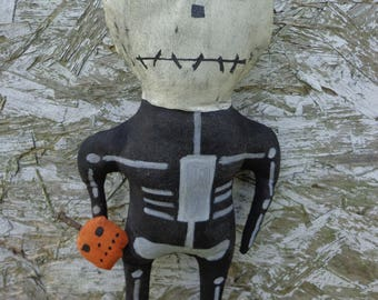"""Primitive Halloween Skeleton Doll Shelf Sitter """"Mr. Bones""""- Made to Order"""