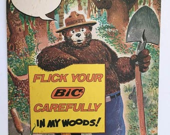 Smokey Bear Poster /   Original 1978 Smokey and Bic Poster / Forest Fire Safety Ad / Woodland Decor / Vintage Poster