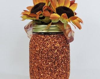 Copper Orange Glitter Mason Jar for Fall Wedding Decor, Fall Baby Shower Decor, Graduation Party Decor, Birthday Party Decor and Home Decor