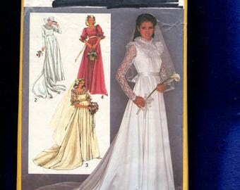 Vintage 1980's Simplicity 9755 Retro Empire Waist Wedding Gown with Lace Trim Size 10