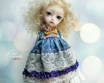MIDNIGHT TALES Collection, Blue-Pink Silk Blythe/Pullip/Imda2.6 Dress By Odd Princess, Vintage Collection
