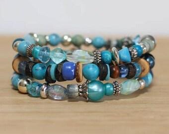 "Boho Bracelet Set, ""Beach Comber"", Beach Bracelet, Stackable Bracelet, Hippie Jewelry, Summer Bracelet, Travel Bracelet"