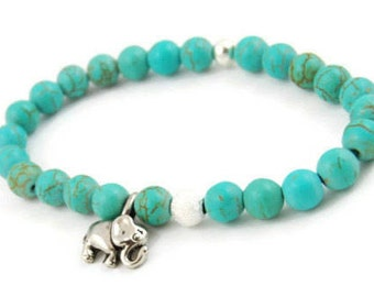Gemstone Elephant Bracelet, Green, Teal, Gold, Silver, Stretch Bracelet, Beaded Bracelet, Elephant Jewelry, Wisdom, Crystal, Charm Bracelet