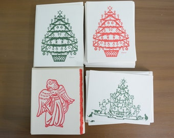 40 M. Deiner 70's Christmas Cards Lot - Angel, Christmas Tree, Red, Green, Handmade, Blank, Children Decorating, Ornaments