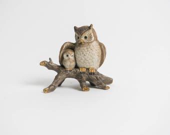 Vintage Mama Owl and Baby Owlet Knick Knack Figurine