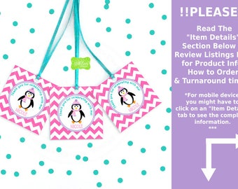 Penguin Favor Tags - Girl Penguin Thank You Tags -  Chevron Favor Tags - Penguin Gift Tags - Digital or Printed Tags Available