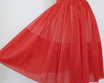 50's Sheer Flocked Swiss Dot Full Skirt Tiny Polka Dot Red White Gathered Skirt S M
