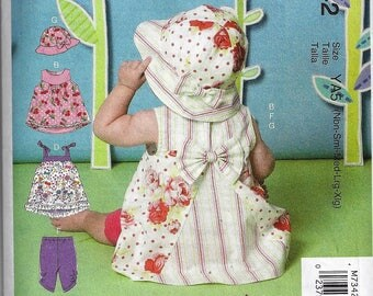 McCall Pattern M7342 All Sizes Nb-Xlg Infant Dresses, Panties, Leggings and Hat Uncut Factory Folded