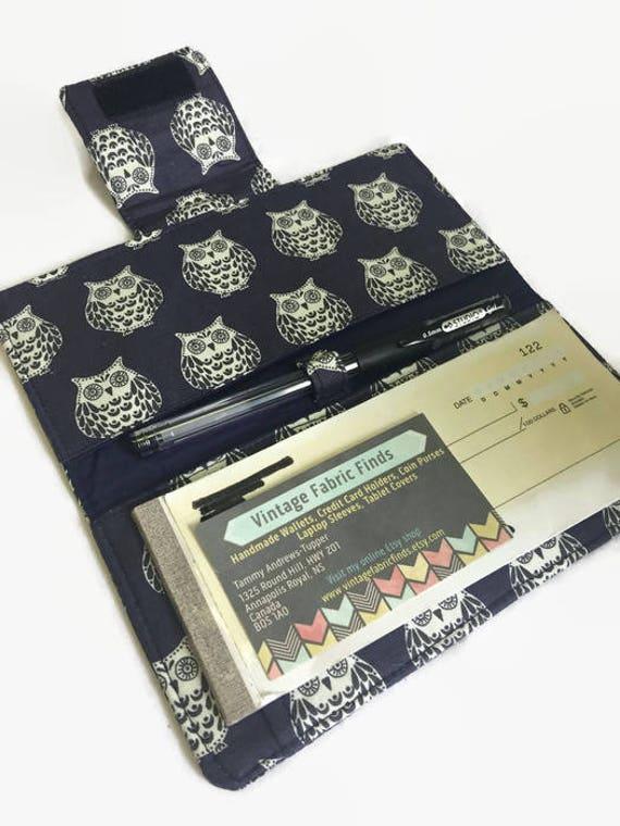 Fabric Book Covers Canada : Checkbook cover owl fabric