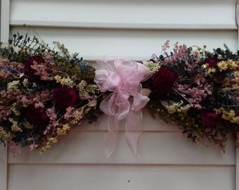 Dried Flower Swag With Pink and White Flowers Pink Bow